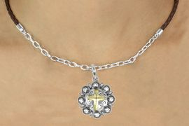 <Br>                    LEAD & NICKEL FREE!!<Br>                     EXCLUSIVELY OURS!!<Br>               AN ALLAN ROBIN DESIGN!!<Br>      W16234N - TWO-TONE CROSS ON<Br>ORNAMENTAL CONCH CHARM & BROWN<Br>        BRAIDED NECKLACE WITH CHAIN<Br>                   FROM $6.75 TO $15.00