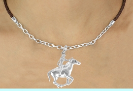 <Br>               LEAD & NICKEL FREE!!<Br>                EXCLUSIVELY OURS!!<Br>          AN ALLAN ROBIN DESIGN!!<Br> W16249N - POLISHED COWGIRL &<Br>RUNNING HORSE CHARM & BROWN<Br>   BRAIDED NECKLACE WITH CHAIN<bR>              FROM $5.06 TO $11.25