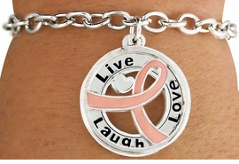 """<BR>                        SALE!  LEAD & NICKEL FREE!!<Br>                          EXCLUSIVELY OURS!!<Br>                   AN ALLAN ROBIN DESIGN!!<bR>         W18643B - PINK AWARENESS RIBBON <Br>        LAYERED """"LIVE LAUGH LOVE"""" TOGGLE<Br>                                   BRACELET $ .99 <BR>      MINIMUM QUANTITY 24 BRACELETS  ©2011<br>               NO ADDITIONAL DISCOUNTS APPLY"""