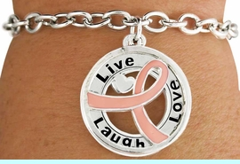 """<BR>                        SALE!  LEAD & NICKEL FREE!!<Br>                          EXCLUSIVELY OURS!!<Br>                   AN ALLAN ROBIN DESIGN!!<bR>         W18643B - PINK AWARENESS RIBBON <Br>        LAYERED """"LIVE LAUGH LOVE"""" TOGGLE<Br>                                   BRACELET $ .99 <BR>      MINIMUM QUANTITY 24 BRACELETS  &#169;2011<br>               NO ADDITIONAL DISCOUNTS APPLY"""