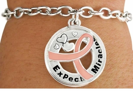 """<BR>                    SALE! LEAD & NICKEL FREE!!<Br>                          EXCLUSIVELY OURS!!<Br>                   AN ALLAN ROBIN DESIGN!!<bR>         W18644B - PINK AWARENESS RIBBON <Br>        LAYERED """"EXPECT MIRACLES"""" TOGGLE<Br>                                   BRACELET $.99 <BR>      MINIMUM QUANTITY 24 BRACELETS  ©2011<br>             NO ADDITIONAL DISCOUNTS APPLY"""