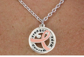 """<BR>                       LEAD & NICKEL FREE!!<Br>                        EXCLUSIVELY OURS!!<Br>                      AN ALLAN ROBIN DESIGN!!<bR>              W18645NE - PINK AWARENESS <BR>     RIBBON LAYERED """"STRENGTH COURAGE <BR>                   HOPE"""" NECKLACE & EARRING <Br>             SET FROM $6.75 TO $15.00 &#169;2011"""