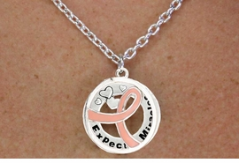 """<BR>                         LEAD & NICKEL FREE!!<Br>                          EXCLUSIVELY OURS!!<Br>                      AN ALLAN ROBIN DESIGN!!<bR>         W18646NE - PINK AWARENESS RIBBON <Br>        LAYERED """"EXPECT MIRACLES"""" NECKLACE<Br>      EARRING SET FROM $6.75 TO $15.00 &#169;2011"""