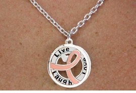 """<BR>                         LEAD & NICKEL FREE!!<Br>                          EXCLUSIVELY OURS!!<Br>                      AN ALLAN ROBIN DESIGN!!<bR>         W18647NE - PINK AWARENESS RIBBON <Br>    LAYERED """"LIVE LAUGH LOVE"""" NECKLACE<Br>      EARRING SET FROM $6.75 TO $15.00 ©2011"""