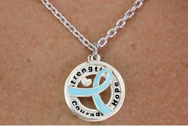 """<BR>                       LEAD & NICKEL FREE!!<Br>                        EXCLUSIVELY OURS!!<Br>                      AN ALLAN ROBIN DESIGN!!<bR>              W18651NE - TEAL AWARENESS <BR>     RIBBON LAYERED """"STRENGTH COURAGE <BR>                   HOPE"""" NECKLACE & EARRING <Br>             SET FROM $6.75 TO $15.00 &#169;2011"""