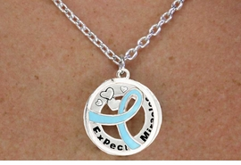 """<BR>                       LEAD & NICKEL FREE!!<Br>                        EXCLUSIVELY OURS!!<Br>                      AN ALLAN ROBIN DESIGN!!<bR>              W18652NE - TEAL AWARENESS <BR>     RIBBON LAYERED """"EXPECT MIRACLES"""" <BR>                          NECKLACE & EARRING <Br>             SET FROM $6.75 TO $15.00 &#169;2011"""