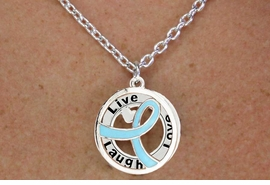 """<BR>                       LEAD & NICKEL FREE!!<Br>                        EXCLUSIVELY OURS!!<Br>                      AN ALLAN ROBIN DESIGN!!<bR>              W18653NE - TEAL AWARENESS <BR>            RIBBON LAYERED """"LIVE LAUGH <BR>                   LOVE"""" NECKLACE & EARRING <Br>             SET FROM $6.75 TO $15.00 &#169;2011"""