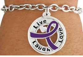 "<BR>                            LEAD & NICKEL FREE!!<Br>                             EXCLUSIVELY OURS!!<Br>                       AN ALLAN ROBIN DESIGN!!<bR>       W18656B - PURPLE AWARENESS RIBBON <Br>        LAYERED ""LIVE LAUGH LOVE"" TOGGLE<Br>          BRACELET FROM $3.94 TO $8.75 &#169;2011"