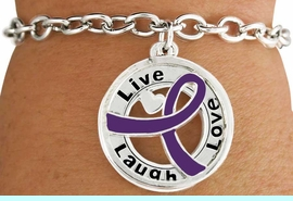 """<BR>                            LEAD & NICKEL FREE!!<Br>                             EXCLUSIVELY OURS!!<Br>                       AN ALLAN ROBIN DESIGN!!<bR>       W18656B - PURPLE AWARENESS RIBBON <Br>        LAYERED """"LIVE LAUGH LOVE"""" TOGGLE<Br>          BRACELET FROM $3.94 TO $8.75 &#169;2011"""