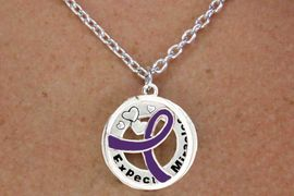 """<BR>                       LEAD & NICKEL FREE!!<Br>                        EXCLUSIVELY OURS!!<Br>                      AN ALLAN ROBIN DESIGN!!<bR>              W18658NE - PURPLE AWARENESS <BR>     RIBBON LAYERED """"EXPECT MIRACLES"""" <BR>                          NECKLACE & EARRING <Br>             SET FROM $6.75 TO $15.00 &#169;2011"""