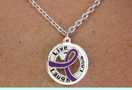 """<BR>                       LEAD & NICKEL FREE!!<Br>                        EXCLUSIVELY OURS!!<Br>                      AN ALLAN ROBIN DESIGN!!<bR>              W18659NE - PURPLE AWARENESS <BR>            RIBBON LAYERED """"LIVE LAUGH <BR>                   LOVE"""" NECKLACE & EARRING <Br>             SET FROM $6.75 TO $15.00 &#169;2011"""