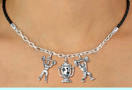 """<Br>                 LEAD & NICKEL FREE!!<Br>                  EXCLUSIVELY OURS!!<Br>            AN ALLAN ROBIN DESIGN!!<Br>        W19540N - BLACK 3-CHARM <br>   """"WEIGHTLIFTLING"""" BRAIDED ROPE &<Br>CHAIN NECKLACE FROM $6.19 TO $13.75"""