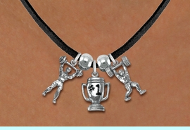 """<Br>                 LEAD & NICKEL FREE!!<Br>                  EXCLUSIVELY OURS!!<Br>            AN ALLAN ROBIN DESIGN!!<Br>   W19541N - BLACK SUEDE 3-CHARM <br>   """"WEIGHTLIFTLING"""" LEATHERETTE <Br>       NECKLACE FROM $6.75 TO $15.00"""