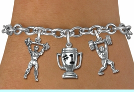 """<Br>                 LEAD & NICKEL FREE!!<Br>                  EXCLUSIVELY OURS!!<Br>            AN ALLAN ROBIN DESIGN!!<Br>   W19542B - SILVER TONE 3-CHARM <br>   """"WEIGHTLIFTLING"""" TOGGLE CHAIN <Br>     BRACELET FROM $5.06 TO $11.25"""