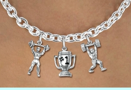 """<Br>                 LEAD & NICKEL FREE!!<Br>                  EXCLUSIVELY OURS!!<Br>            AN ALLAN ROBIN DESIGN!!<Br>     W19543N - SILVER TONE 3-CHARM <br>   """"WEIGHTLIFTLING"""" TOGGLE CHAIN <Br>      NECKLACE FROM $6.19 TO $13.75"""