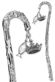 """<BR>                LEAD & NICKEL FREE!! <BR>    """"I AM THE DAUGHTER OF THE KING"""" <BR>  W19954BM - SCULPTED SILVER TONE <BR> BOOKMARK WITH DETAILED SILVER TONE<BR>   CROWN & CHRISTIAN FISH CHARMS <BR>          FROM $4.16 TO $9.25 �2013"""