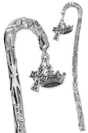 "<BR>                LEAD & NICKEL FREE!! <BR>    ""I AM THE DAUGHTER OF THE KING"" <BR>  W19957BM - SCULPTED SILVER TONE <BR> BOOKMARK WITH DETAILED SILVER TONE<BR>   CROWN & CELTIC CROSS CHARMS <BR>          FROM $4.16 TO $9.25 �2013"