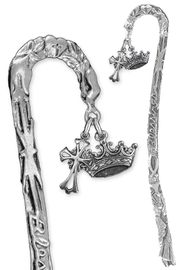 """<BR>                LEAD & NICKEL FREE!! <BR>    """"I AM THE DAUGHTER OF THE KING"""" <BR>  W19959BM - SCULPTED SILVER TONE <BR> BOOKMARK WITH DETAILED SILVER TONE<BR> CROWN & TALL CELTIC CROSS CHARMS <BR>          FROM $4.16 TO $9.25 �2013"""