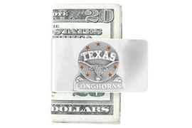 """<Br>               LEAD & NICKEL FREE!<Br>       NCAA OFFICIALLY LICENSED!!<Br>W15122MC - UNIVERSITY OF TEXAS<Br>        """"LONGHORNS"""" MONEY CLIP<br>                    AS LOW AS $6.30"""