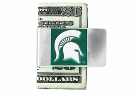 <Br>                LEAD & NICKEL FREE!<Br>        NCAA OFFICIALLY LICENSED!!<Br>      W18589MC - MICHIGAN STATE <Br>         UNIVERSITY SPARTAN GREEN<Br>    MONEY CLIP FROM $6.75 TO $15.00