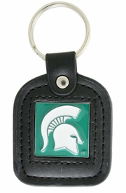 <Br>                  LEAD & NICKEL FREE!!<BR>            OFFICIAL NCAA LICENSED!!<Br>W18592KC - MICHIGAN STATE UNIVERSITY<Br>     GENUINE BLACK LEATHER FRAMED<Br>       KEY CHAIN FROM $4.73 TO $10.50