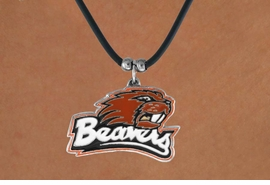 """<Br>                   LEAD & NICKEL FREE!!<Br> OFFICIALLY LICENSED COLLEGE LOGO!!<Br> W15152N - OREGON STATE UNIVERSITY<Br>    """"BEAVERS""""  BLACK CORD NECKLACE<Br>                        AS LOW AS $6.30"""