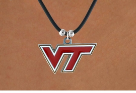 """<Br>                   LEAD & NICKEL FREE!!<Br>OFFICIALLY LICENSED COLLEGE LOGO!!<Br>W15165N - VIRGINIA TECH UNIVERSITY<Br>    """"HOKIES""""  BLACK CORD NECKLACE<Br>                        AS LOW AS $6.30"""