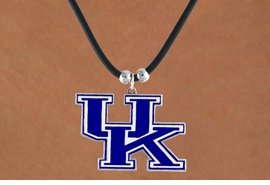 "<Br>                  LEAD & NICKEL FREE!!<Br>OFFICIALLY LICENSED COLLEGE LOGO!!<Br> W15739N - UNIVERSITY OF KENTUCKY<Br> ""WILDCATS""  BLACK CORD NECKLACE<Br>                 FROM $6.75 TO $15.00"