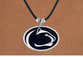 "<Br>                    LEAD & NICKEL FREE!!<Br> OFFICIALLY LICENSED COLLEGE LOGO!!<Br>      W16097N - PENNSYLVANIA STATE<BR>  UNIVERSITY ""NITTANY LIONS"" BLACK<Br>CORD NECKLACE FROM $6.75 TO $15.00"