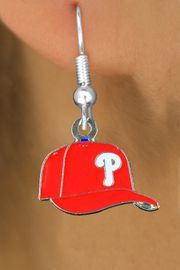<bR>              LEAD & NICKEL FREE!! <Br>             OFFICIALLY LICENSED!! <Br>     MAJOR LEAGUE BASEBALL LOGOS!! <Br> W20623E - PHILADELPHIA PHILLIES LOGO CAP <Br>    SILVER TONE FISH HOOK EARRINGS <BR>        FROM $4.50 TO $10.00 �2013