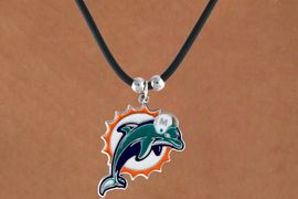 <Br>            LEAD & NICKEL FREE!!<Br>          OFFICIALLY LICENSED!!<Br>NATIONAL FOOTBALL LEAGUE!!!<Br>  W14929N - MIAMI DOLPHINS<Br>  BLACK CORD LOGO NECKLACE<br>                AS LOW AS $2.99