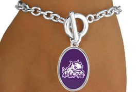 "<Br>                     LEAD & NICKEL FREE!!<Br>                   OFFICIALLY LICENSED!!<bR>W15033B - TEXAS CHRISTIAN UNIVERSITY<Br>             ""HORNED FROGS"" BRACELET<BR>                           AS LOW AS $3.65"