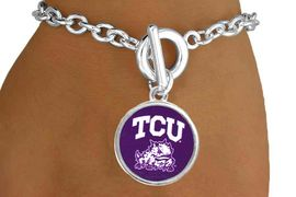 "<Br>                     LEAD & NICKEL FREE!!<Br>                   OFFICIALLY LICENSED!!<bR>W15036B - TEXAS CHRISTIAN UNIVERSITY<Br>             ""HORNED FROGS"" BRACELET<BR>                           AS LOW AS $3.65"