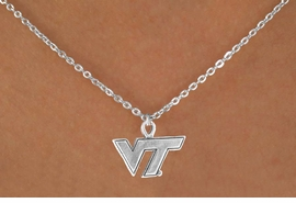 """<Br>           LEAD & NICKEL FREE!!<Br>         OFFICIALLY LICENSED!!<bR>W15044N - VIRGINIA TECH (VT)<Br>      """"HOKIES"""" LOGO NECKLACE<br>                AS LOW AS $3.65"""