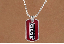 """<Br>                 LEAD & NICKEL FREE!!<Br>              OFFICIALLY LICENSED!!!<bR>     W15816N - NEW MEXICO STATE<Br>UNIVERSITY """"AGGIES""""MINI DOG TAG<Br>    NECKLACE FROM $2.81 TO $6.25"""