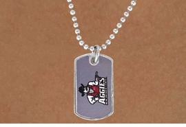 """<Br>                 LEAD & NICKEL FREE!!<Br>              OFFICIALLY LICENSED!!!<bR>     W15818N - NEW MEXICO STATE<Br>UNIVERSITY """"AGGIES""""MINI DOG TAG<Br>    NECKLACE FROM $2.81 TO $6.25"""