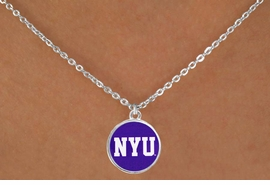 """<Br>                  LEAD & NICKEL FREE!!<Br>                OFFICIALLY LICENSED!!<bR> W19167N - NEW YORK UNIVERSITY """"NYU""""<Br>    LOGO NECKLACE FROM $3.94 TO $8.75"""