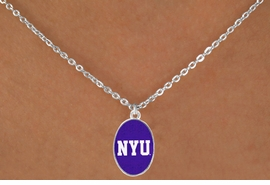"""<Br>                  LEAD & NICKEL FREE!!<Br>                OFFICIALLY LICENSED!!<bR> W19168N - NEW YORK UNIVERSITY """"NYU""""<Br>    LOGO NECKLACE FROM $3.94 TO $8.75"""