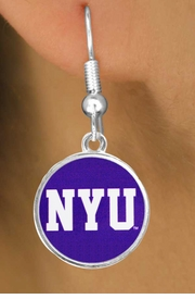 """<Br>                   LEAD & NICKEL FREE!!<Br>                OFFICIALLY LICENSED!!!<bR>W19169E - NEW YORK UNIVERSITY """"NYU""""<Br>         EARRINGS FROM $3.94 TO $8.75"""