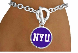 """<Br>                  LEAD & NICKEL FREE!!<Br>                OFFICIALLY LICENSED!!<bR> W19172B - NEW YORK UNIVERSITY """"NYU"""" <Br>         BRACELET FROM $3.35 TO $7.50"""