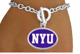 """<Br>                  LEAD & NICKEL FREE!!<Br>                OFFICIALLY LICENSED!!<bR> W19173B - NEW YORK UNIVERSITY """"NYU"""" <Br>         BRACELET FROM $3.35 TO $7.50"""