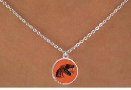 """<Br>                  LEAD & NICKEL FREE!!<Br>                OFFICIALLY LICENSED!!<bR> W19531N - FLORIDA A&M """"RATTLERS""""<Br>    LOGO NECKLACE FROM $3.94 TO $8.75"""