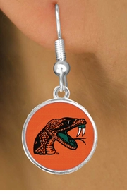 """<Br>                   LEAD & NICKEL FREE!!<Br>                OFFICIALLY LICENSED!!! <bR>W19530E - FLORIDA A&M """"RATTLERS""""<Br>         EARRINGS FROM $3.94 TO $8.75"""