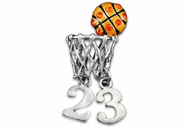<br>              LEAD & NICKEL FREE!!<Br> PERSONALIZED WITH PLAYER NUMBER <BR>W19332P - ORANGE AUSTRIAN CRYSTAL <Br> ACCENTED BASKETBALL AND HOOP <br>     CUSTOM  LAPEL PIN FOR $15.00