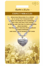"""<Br>               LEAD & NICKEL FREE!!<Br>  RELIGIOUS SYMBOLS OF FAITH!!<Br>  W15298B - """"EXPECT MIRACLES""""<Br>HEART CHARM AND CLEAR BEADED<Br>   BRACELET WITH GIFT CARD AND<Br>       ENVELOPE AS LOW AS $6.97"""