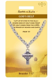 """<Br>            LEAD & NICKEL FREE!!<Br>RELIGIOUS SYMBOLS OF FAITH!!<Br>       W15299B - """"GOD'S HELP""""<Br>    PSALM 121 CROSS BRACELET<bR>WITH GIFT CARD AND ENVELOPE<bR>                AS LOW AS $5.47"""