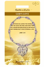 """<Br>                LEAD & NICKEL FREE!!<Br>    RELIGIOUS SYMBOLS OF FAITH!!<Br>W15300B - """"GOD'S LOVE"""" JOHN 3:16<Br>   HEART BRACELET WITH GIFT CARD<Br>    AND ENVELOPE AS LOW AS $8.47"""