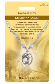 """<Br>                LEAD & NICKEL FREE!!<Br>   RELIGIOUS SYMBOLS OF FAITH!!<Br>    W15301B - """"GUARDIAN ANGEL""""<Br>ANGEL AND PSALMS CLEAR BEADED<Br>    BRACELET WITH GIFT CARD AND<Br>        ENVELOPE AS LOW AS $6.97"""