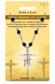 """<Br>              LEAD & NICKEL FREE!!<Br>   RELIGIOUS SYMBOLS OF FAITH!!<Br>   W15318N - """"THREE CROSSES AT<Br>CALVARY"""" CROSS NECKLACE WITH<Br>         GIFT CARD AND ENVELOPE<bR>                   AS LOW AS $7.97"""