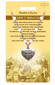 """<Br>            LEAD & NICKEL FREE!!<Br>RELIGIOUS SYMBOLS OF FAITH!!<Br>W15319N - """"EXPECT MIRACLES""""<Br>      HEART CHARM AND CLEAR<Br>  BEADED NECKLACE WITH GIFT<bR>            CARD AND ENVELOPE<br>                 AS LOW AS $8.47"""